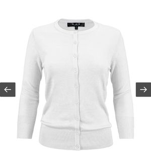 White MAK sweater with 3/4 sleeves M